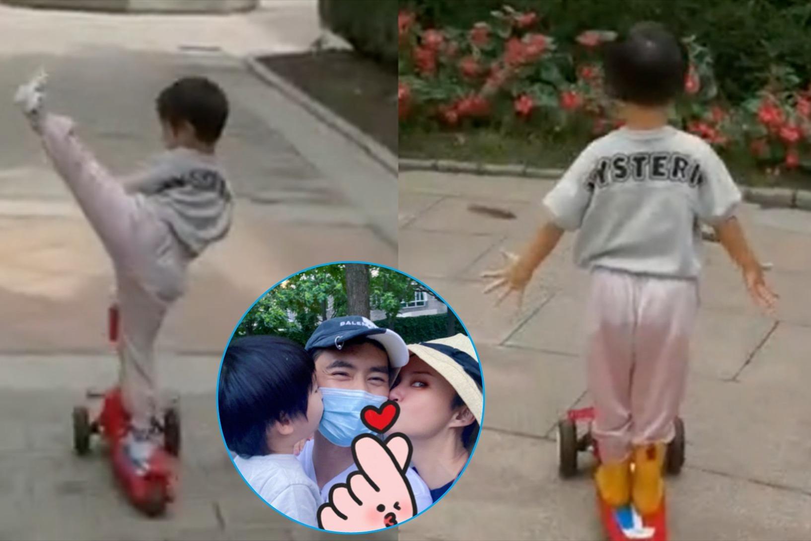袁弘2岁儿子玩滑板车,滑行中做朝天蹬、松双手,花式耍帅胆超肥