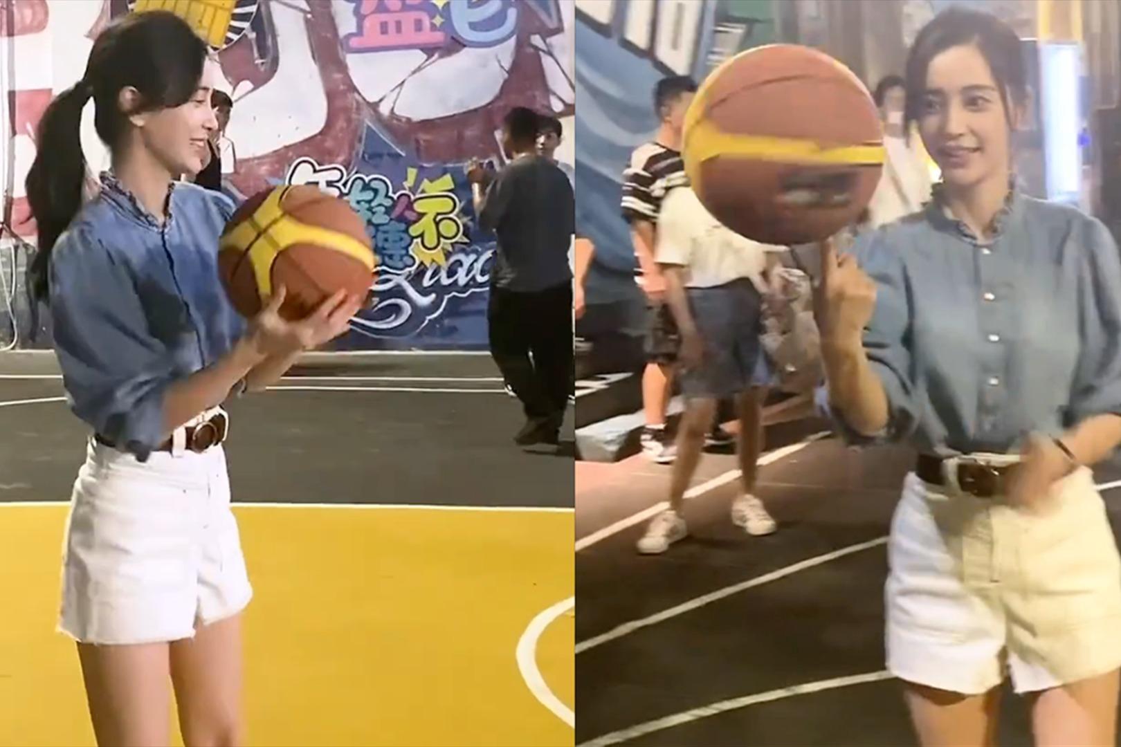 辣妈变运动少女!Baby剧组炫隐藏技能,扎马尾打篮球活力爆表